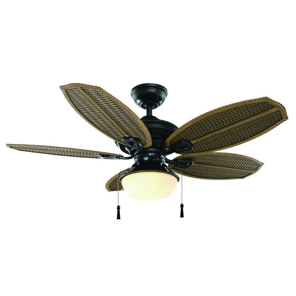 Hampton Bay Palm Beach III 48 In IndoorOutdoor Natural Iron Ceiling Fan With Light Kit 51499