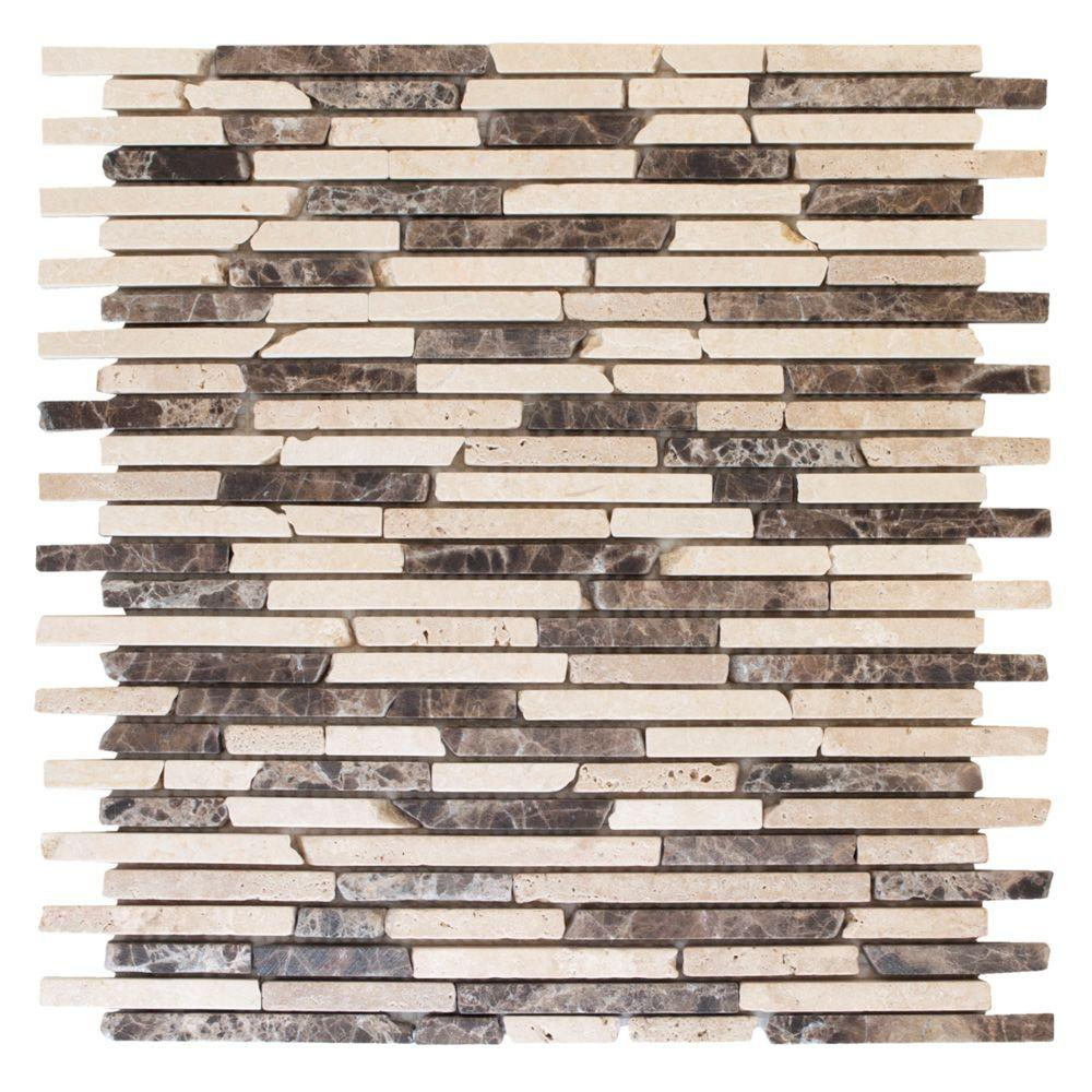 Jeffrey Court English Stone Emperador 11 in. x 12.25 in. x 8 mm ...
