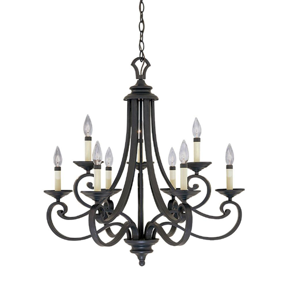 Designers Fountain Monte Carlo 9Light Hanging Natural Iron