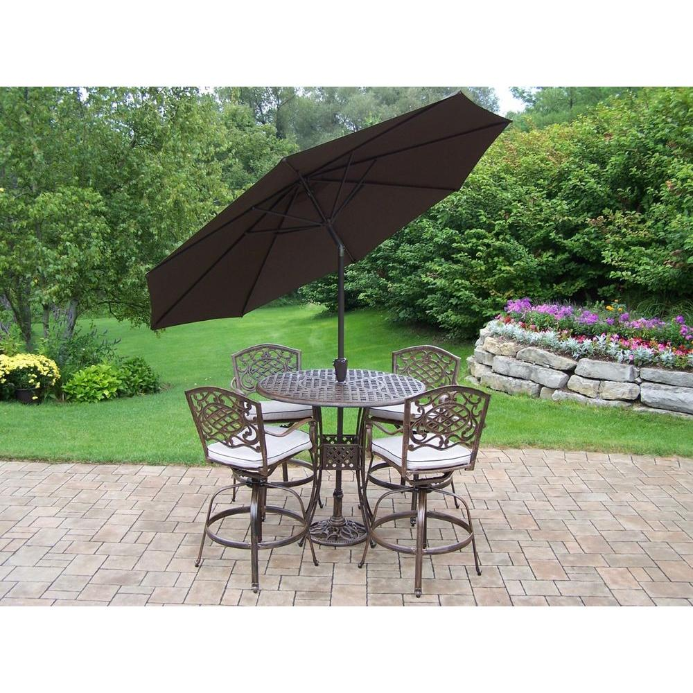 Oakland Living Elite Mississippi Cast Aluminum 5-Piece Swivel Patio Bar Set with Solid Cushions, Tilting Umbrella and Stand