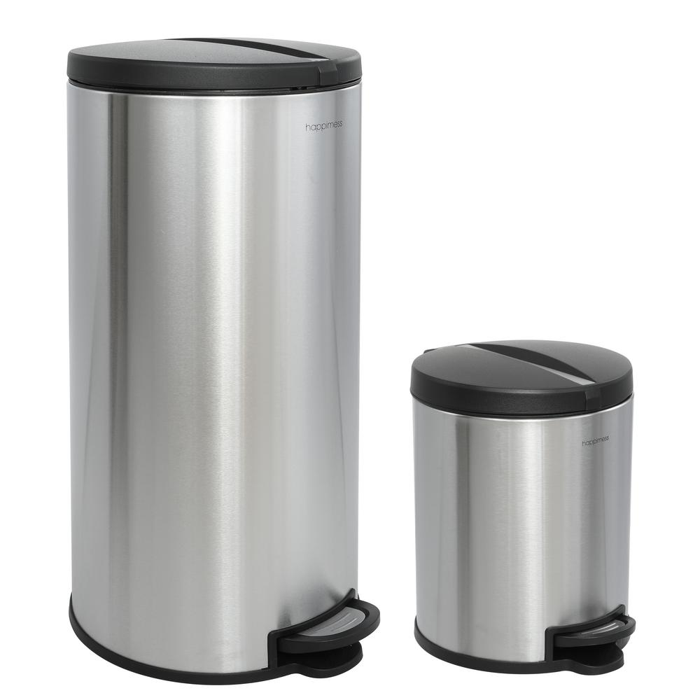 Happimess Oscar Round 8 Gal Stainless Steel Black Step Open Trash