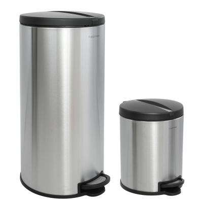 Oscar Round 8 Gal. Stainless Steel Black Step-Open Trash Can with Free Mini Trash Can
