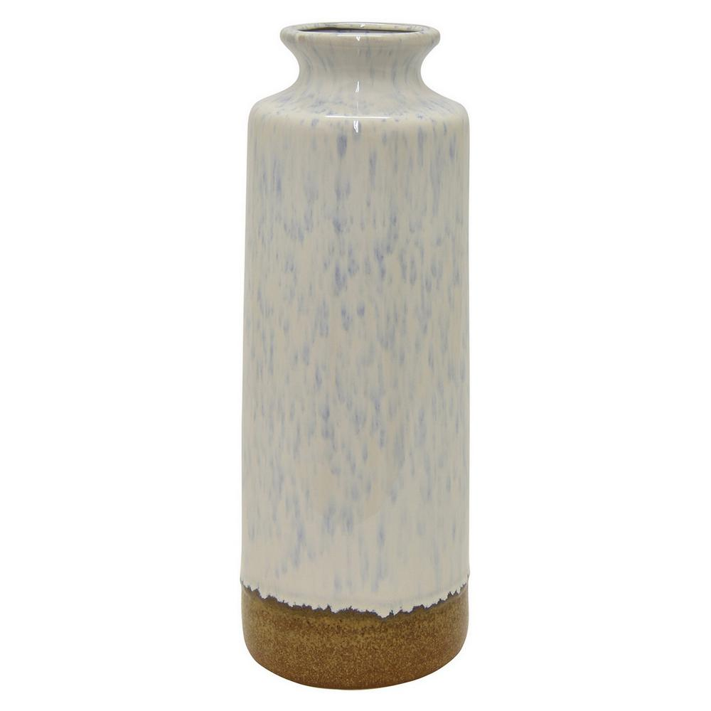 17.1 in. White Ceramic Decorative Vase