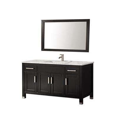 Ricca 60 in. W x 22 in. D x 36 in. H Vanity in Espresso with Marble Vanity Top in White with White Basin and Mirror