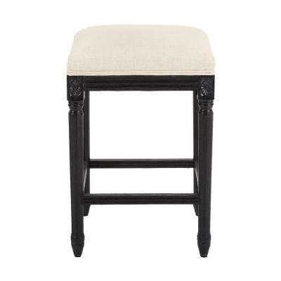 Jacques 25.25 in. Natural Cushioned Counter Stool in Antique Black