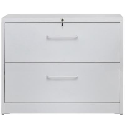White Lockable Heavy Duty Lateral File Cabinet with 2-Drawers