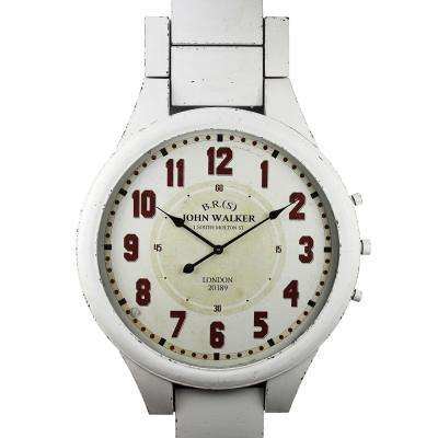 John Walker Distressed White Wristband Wall Clock