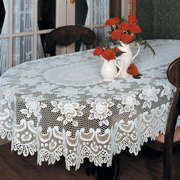 Heritage Lace Rose Oval Off White Polyester Tablecloth