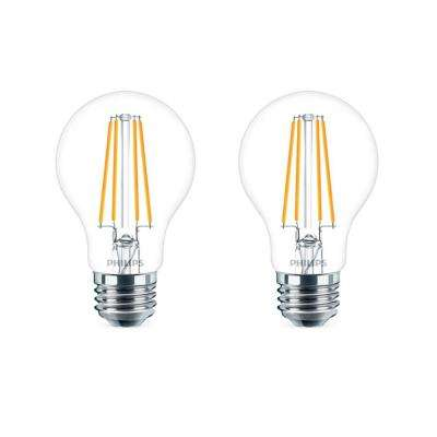 60-Watt Equivalent A19 Dimmable Energy Saving Clear Glass Indoor/Outdoor LED Light Bulb Daylight (5000K) (2-Pack)