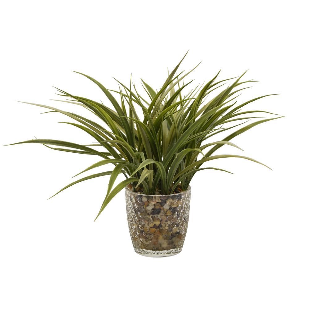 THREE HANDS 11 in. Faux Grass in Flower Pot 12261