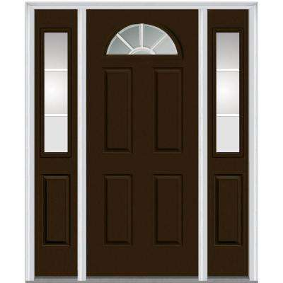 64 in. x 80 in. Internal Grilles Left-Hand 1/4-Lite Clear Painted Fiberglass Smooth Prehung Front Door with Sidelites