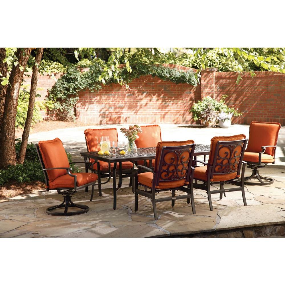 Thomasville Messina 7-Piece Patio Dining Set with Paprika Cushions