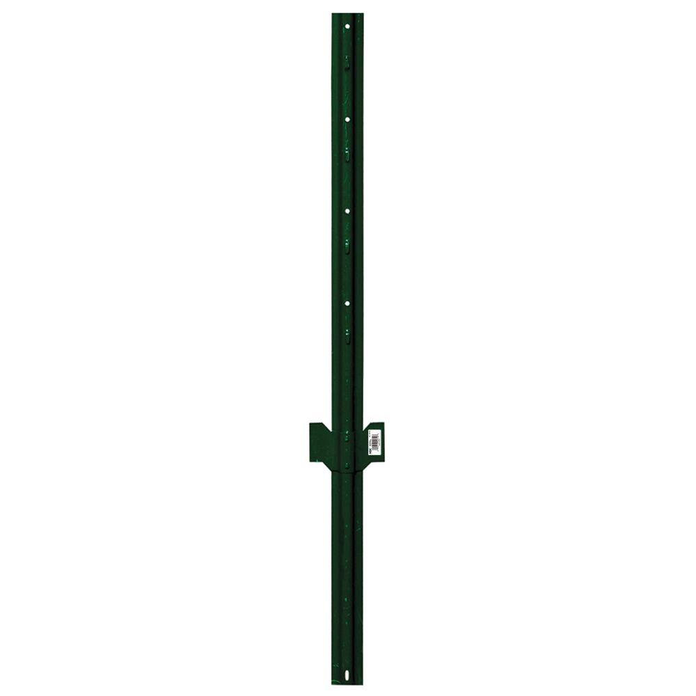 1.25 in. x .75 in. x 3 ft. Green 14-Gauge Steel U-Fence Post