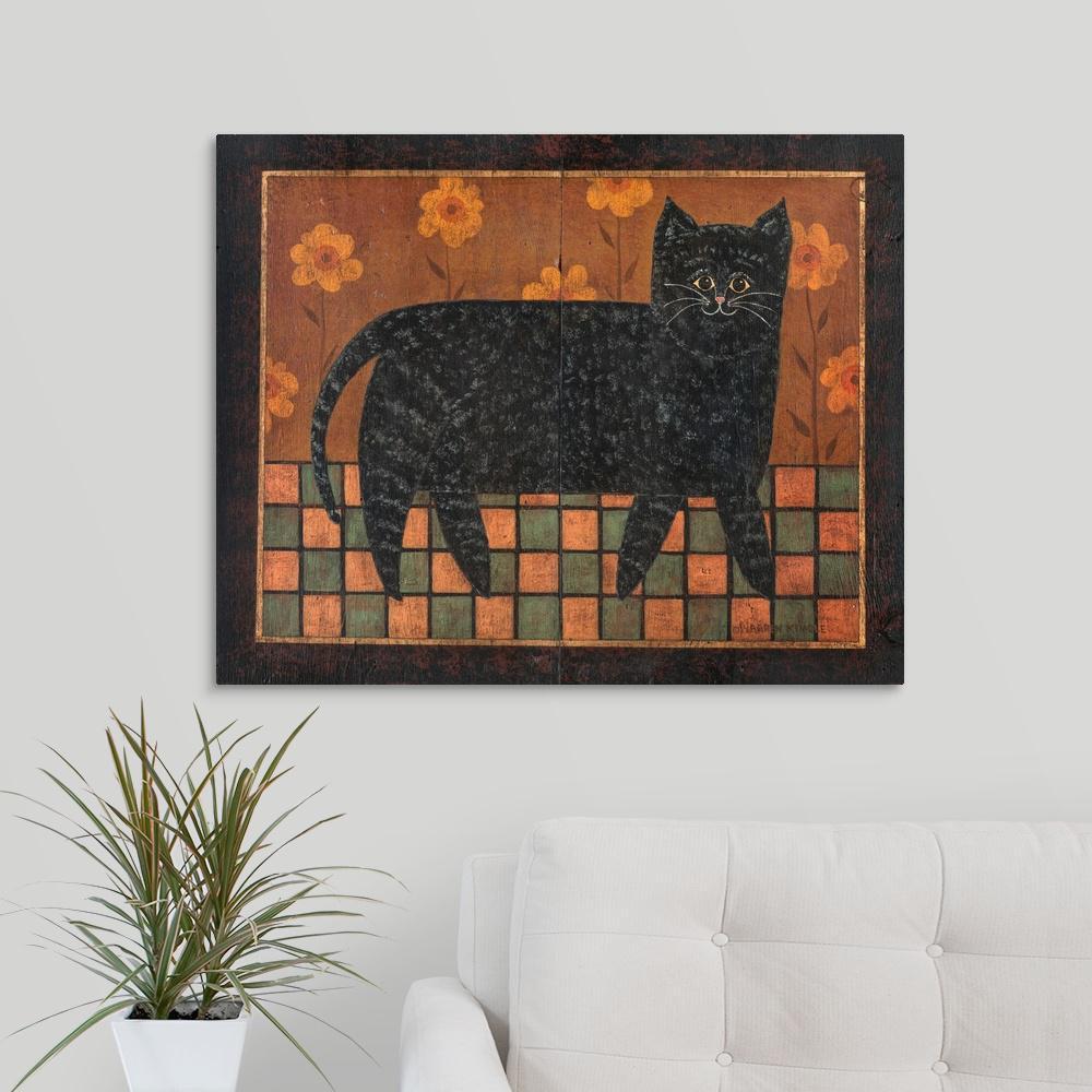 greatbigcanvas checkerboard cat by warren kimble canvas wall art