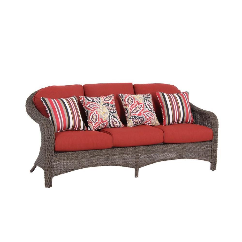 Hampton Bay Walnut Creek Patio Sofa with Red Cushion-DISCONTINUED