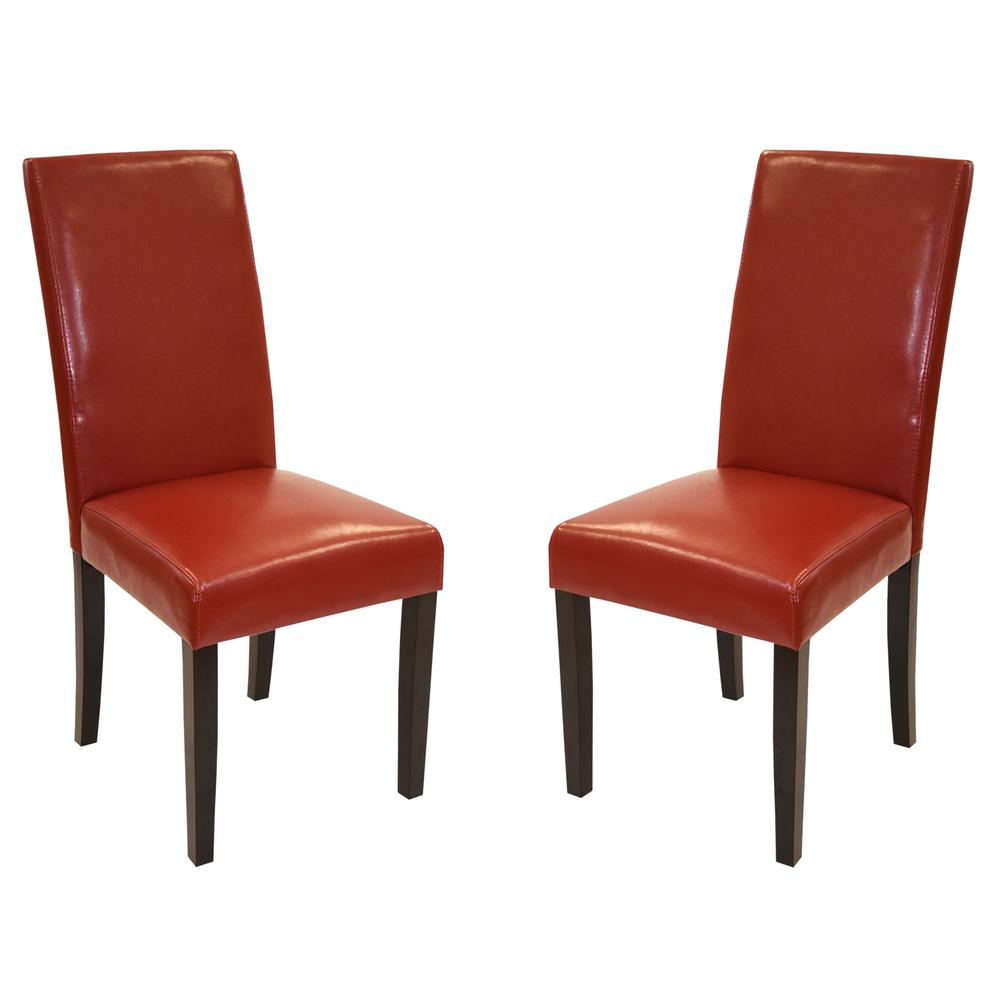 MD-014 38 in. Red Bonded Leather and Black Wood Side Chair