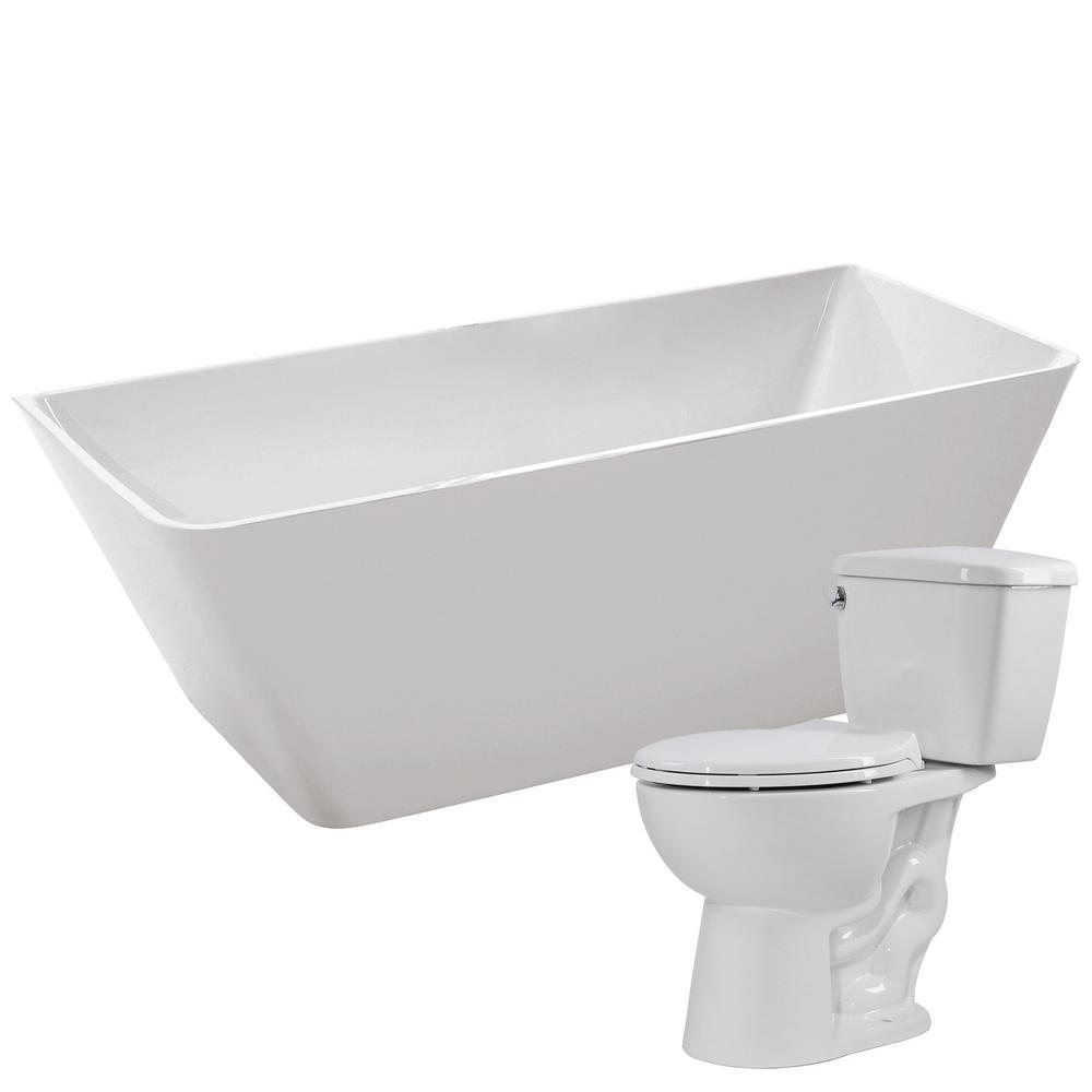 Zenith 67 in. Acrylic Flatbottom Non-Whirlpool Bathtub with Author 2-Piece 1.28 GPF Single Flush Toilet