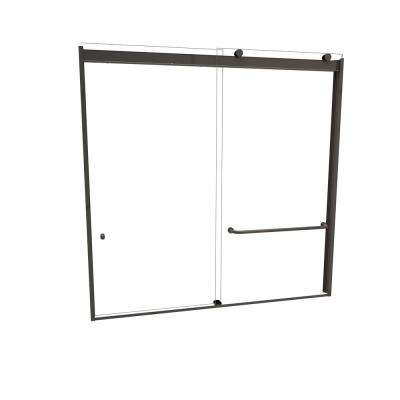 3000V Series 60 in. W x 57 in. H Semi-Frameless Sliding Tub Door in Oil Rubbed Bronze with Single-Sided Towel Bar