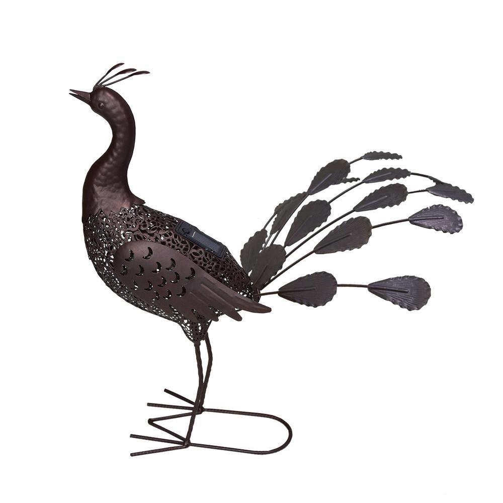 22 in. Steel Indoor/Outdoor Animal Garden Peacock Metal Sculpture Statue with Solar Light
