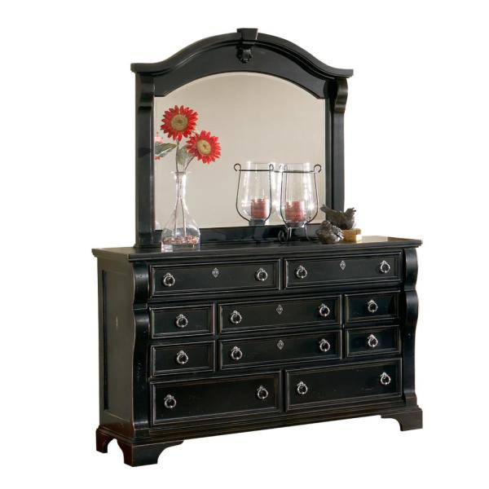 Heirloom 10-Drawer Distressed Black Dresser with Mirror