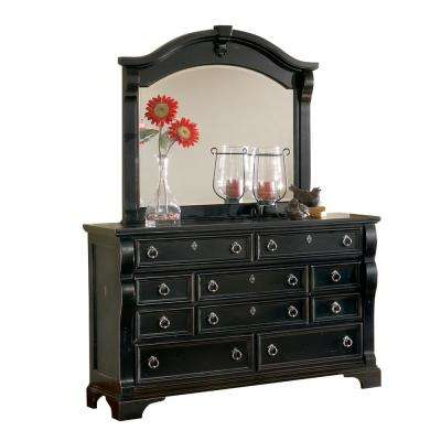 Heirloom 10-Drawer Distressed Black Dresser with Mirror