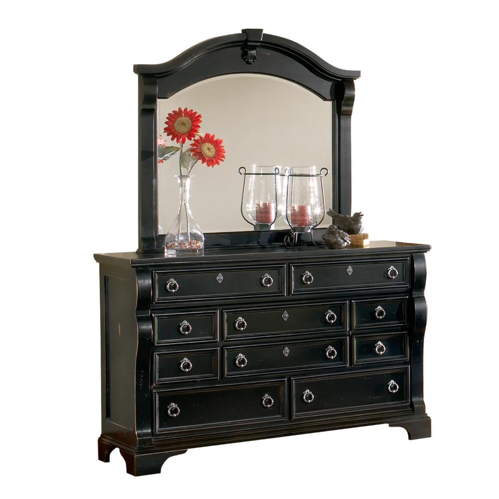 American Woodcrafters Heirloom 10-Drawer Distressed Black Dresser with Mirror