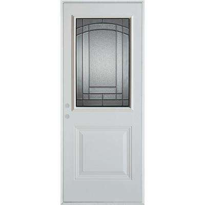 36 in. x 80 in. Chatham Patina 1/2 Lite 1-Panel Painted White Right-Hand Inswing Steel Prehung Front Door