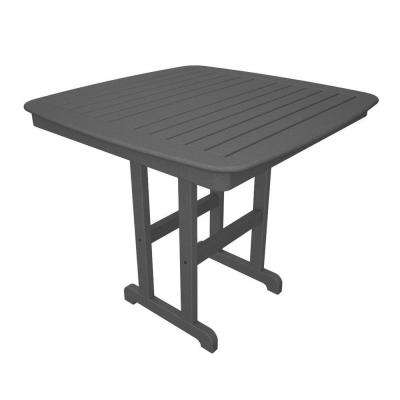 Nautical 44 in. Slate Grey Plastic Outdoor Patio Counter Table