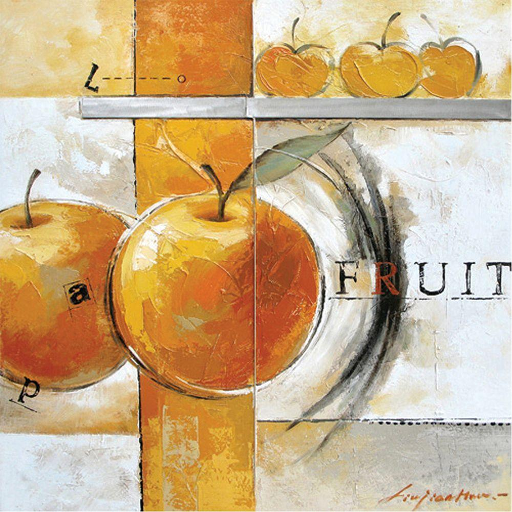 Yosemite Home Decor 31 in. x 31 in. Peaches of Life Hand Painted Contemporary Artwork-DISCONTINUED