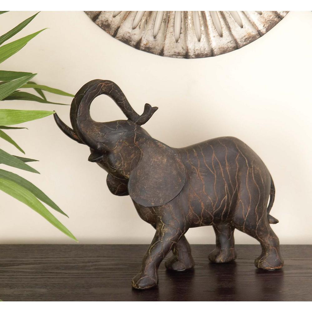 10 in. x 12 in. Decorative Elephant Sculpture in Colored Polystone
