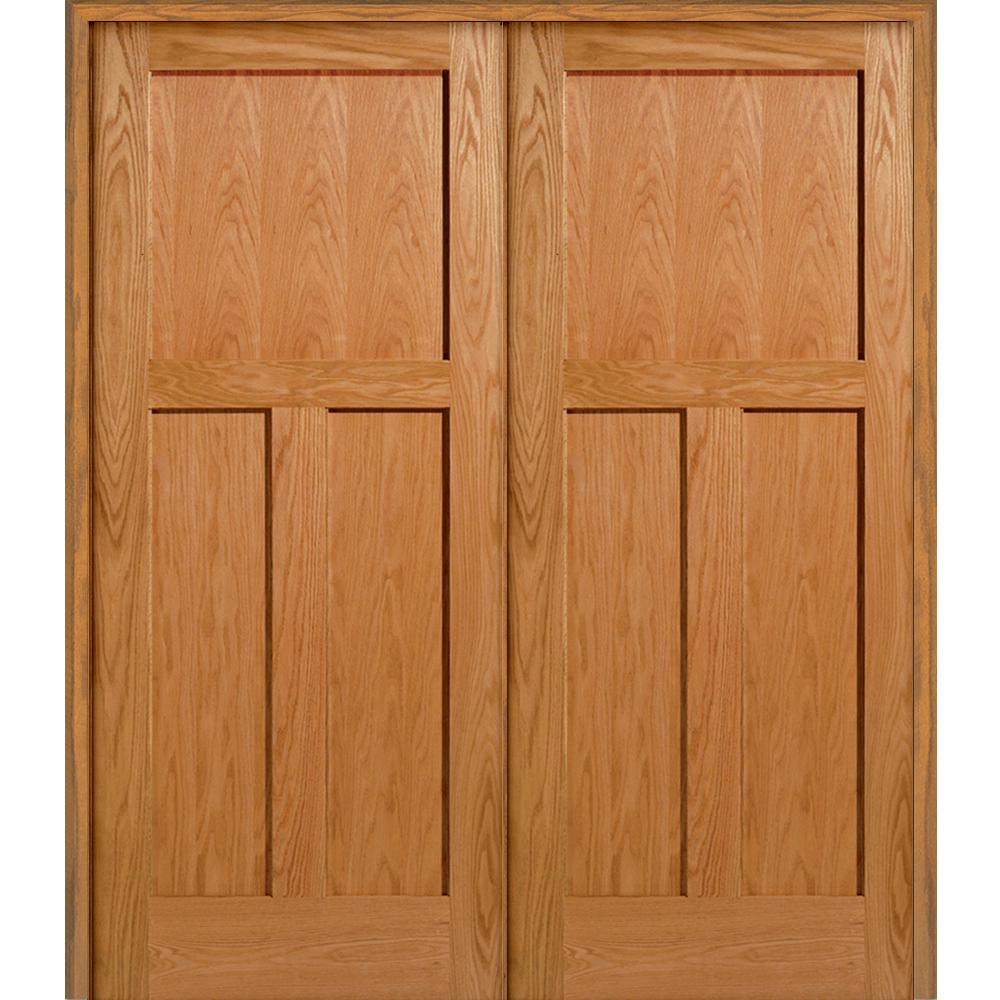 3 Panel Flat Square Sticking Unfinished Red Oak Wood Both Active Solid Core  Double Prehung Interior Door