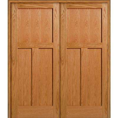 60 in. x 80 in. 3-Panel Flat Square Sticking Unfinished Red Oak Wood Both Active Solid Core Double Prehung Interior Door