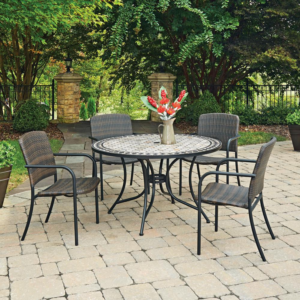 Home Styles Cottage 5 Piece Marble Outdoor Dining Set