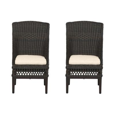 Woodbury Dark Brown Wicker Outdoor Patio Dining Chair with CushionGuard Putty Tan Cushions (2-Pack)