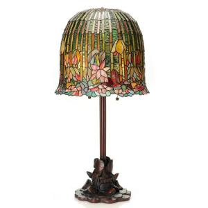 River of goods 29 in multi colored table lamp with tiffany style multi colored table lamp with tiffany style pond lily stained glass shade 13829 the home depot aloadofball Gallery