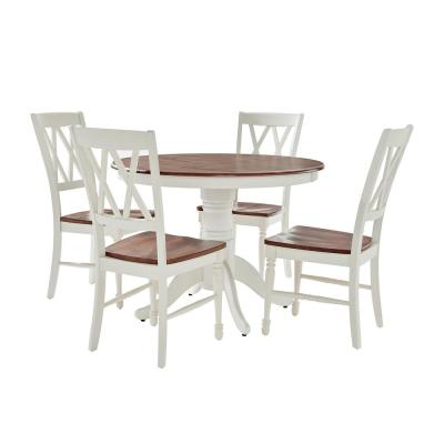 Shelby 5-Piece White Round Dining Set