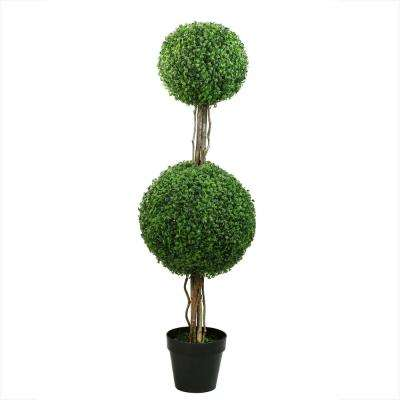 48 in. Potted 2-Tone Green Double Ball Boxwood Topiary Artificial Garden Tree