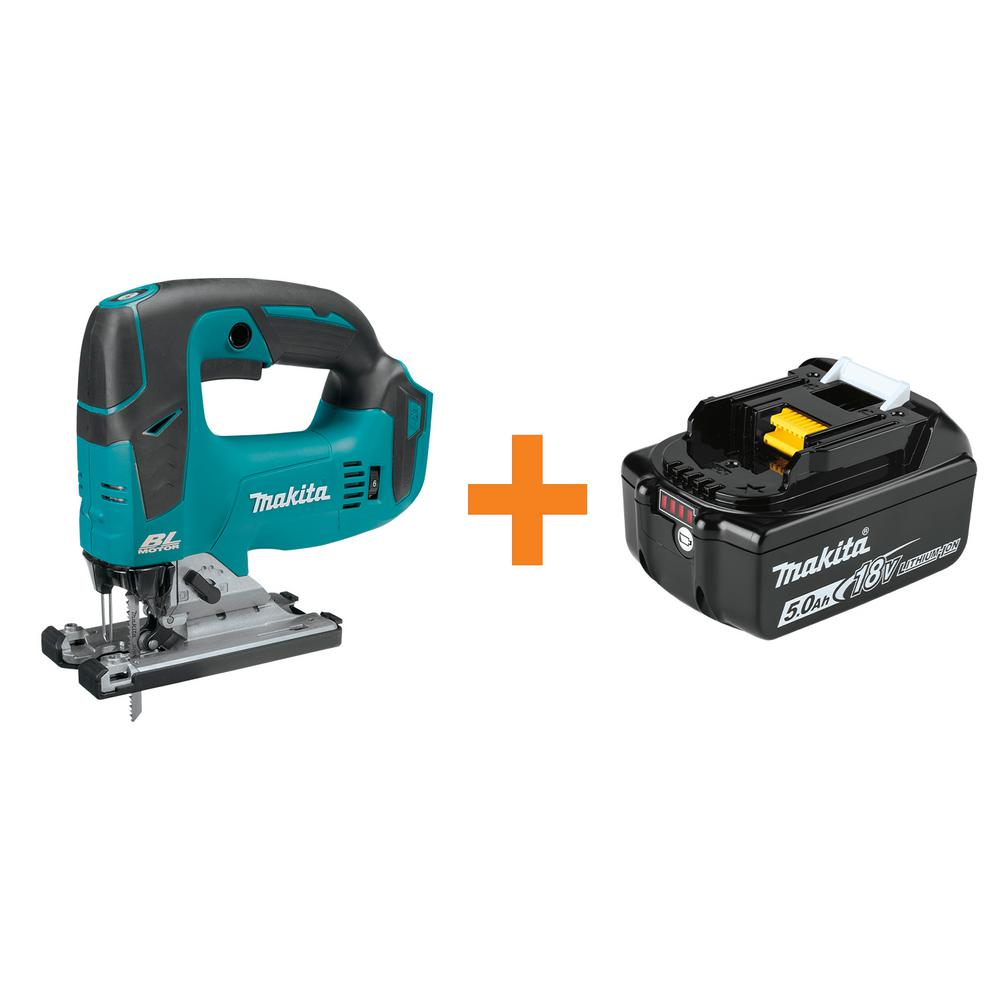 Makita 18-Volt LXT Lithium-Ion Brushless Cordless Jig Saw, Tool Only with Bonus 18-Volt LXT Lithium-Ion 5.0 Ah Battery