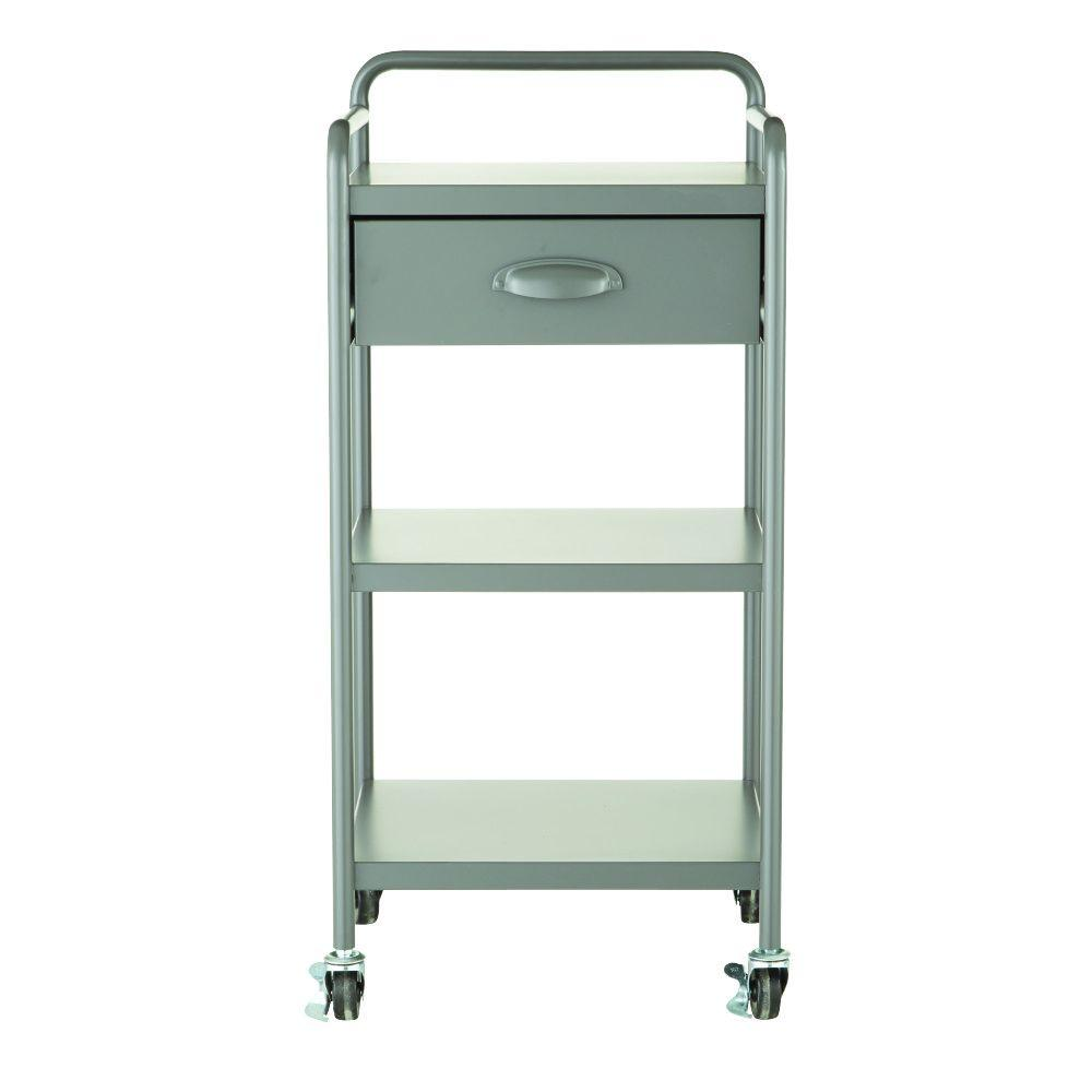 Home Decorators Collection Steel 1-Drawer Cart in Grey