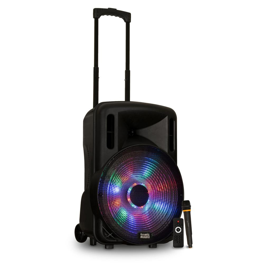 5622ec3a91a6d5 Acoustic Audio by Goldwood. Battery Powered 15 in. Bluetooth LED Speaker  and Wireless Mic