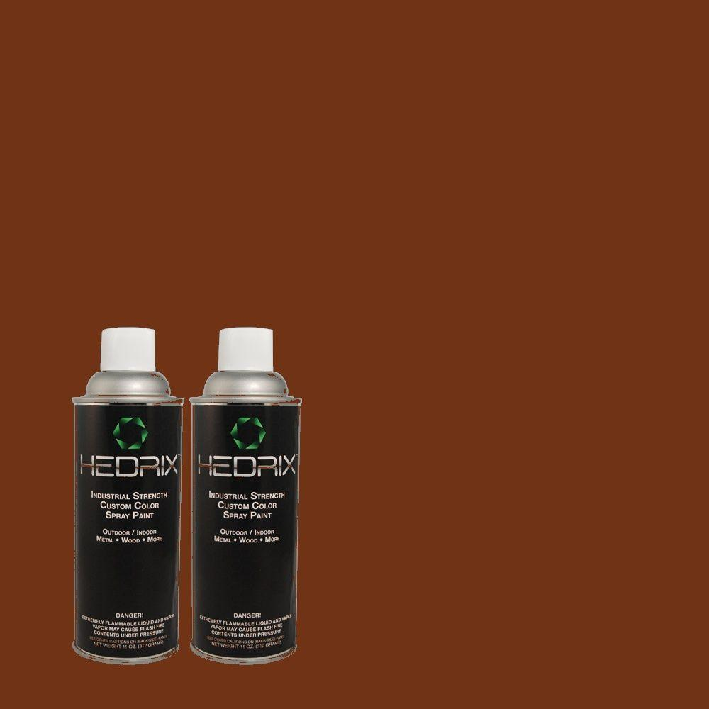 Hedrix 11 oz. Match of ECC-42-3 Deep Cherrywood Semi-Gloss Custom Spray Paint (2-Pack)