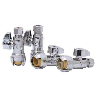 1/2 in. Push-to-Connect x 3/8 in. O.D. Compression Chrome-Plated Brass Quarter-Turn Straight Stop Valve (4-Pack)