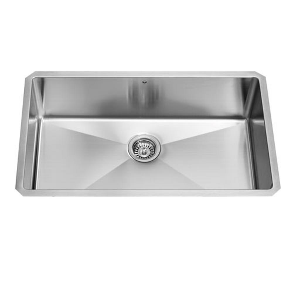 Undermount Stainless Steel 32 in. Single Bowl Kitchen Sink