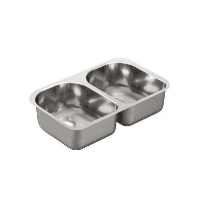 1800 Series Undermount Stainless Steel 29.25 in. Double Bowl Kitchen Sink