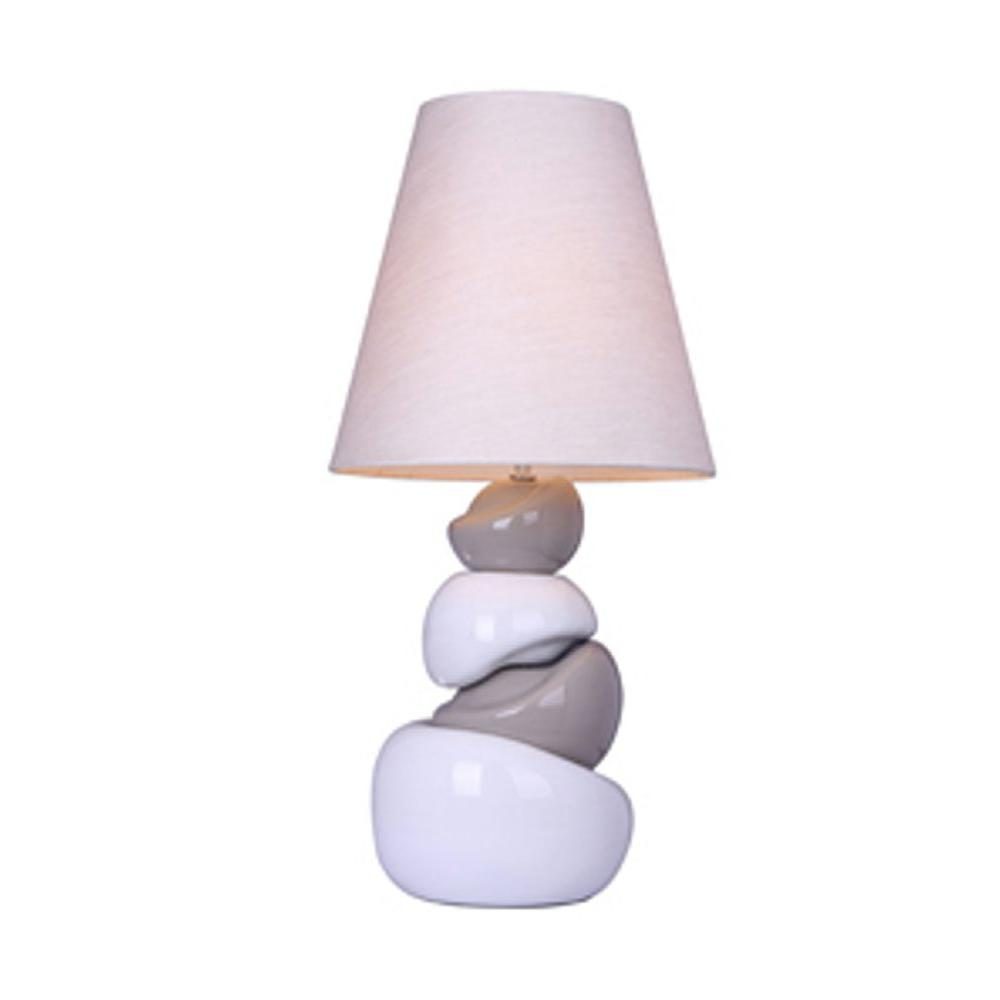 Elegant Designs 13 in. White and Gray Stone Ceramic Table Lamp-DISCONTINUED