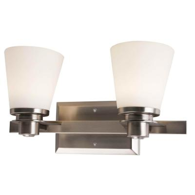 2-Light Brushed Nickel Vanity Lighting with Etched Opal Glass LED Integrated