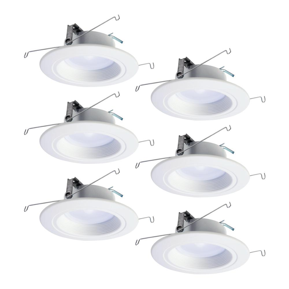 White Smart Bluetooth Integrated LED Recessed Downlight with Adjustable Color Temperature 2700K-5000K and 6 in Halo Home 5 in