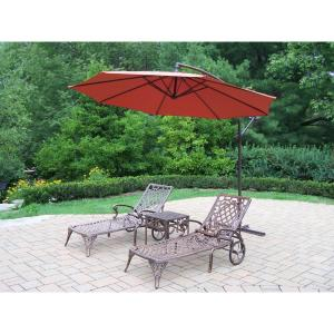 4-Piece Aluminum Outdoor Chaise Lounge Set with Burnt Orange Umbrella by
