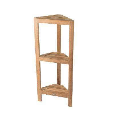 14.5 in. W Fiji Corner Bathroom Shower Foot Seat for Shaving or 3-Tier Shelf in Natural Teak