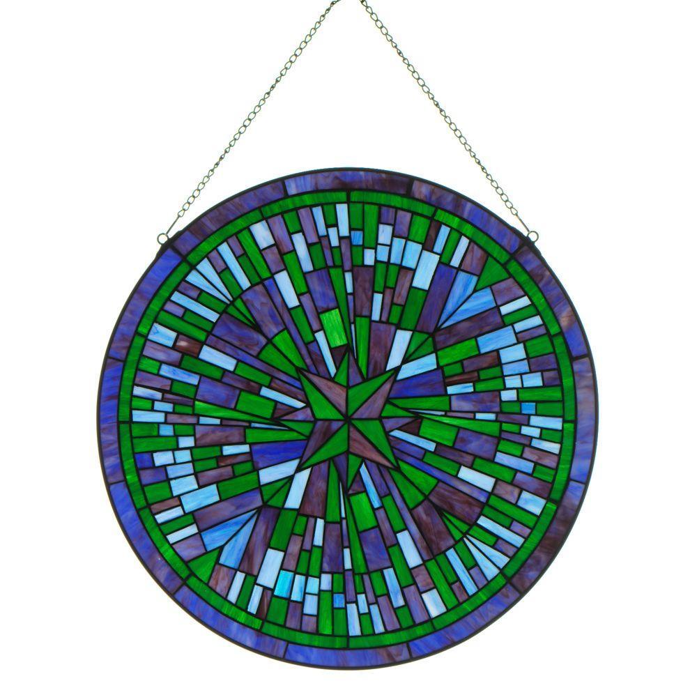 Home Decorators Collection Round Starburst Blue Multi Art Glass